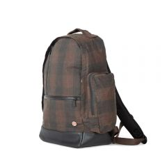 TOKEN Waxed Halsey Backpack - Plaid Dark Brown
