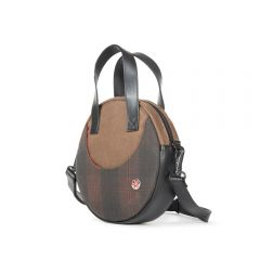 TOKEN  Waxed Circle Line Shoulder Bag - Field Tan/Plaid Dark Brown