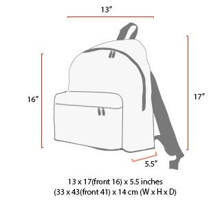 size chart Big Apple Backpack (LG)