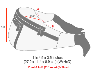 size chart Midnight Alleycat Waist Bag