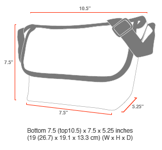 size chart Midnight Mini NY Messenger Bag