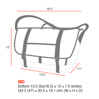 size chart Bike Messenger Bag (XLG)