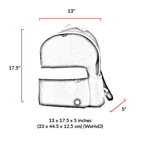 size chart Woolrich West Point Parsons Backpack (L)